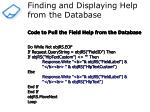 finding and displaying help from the database