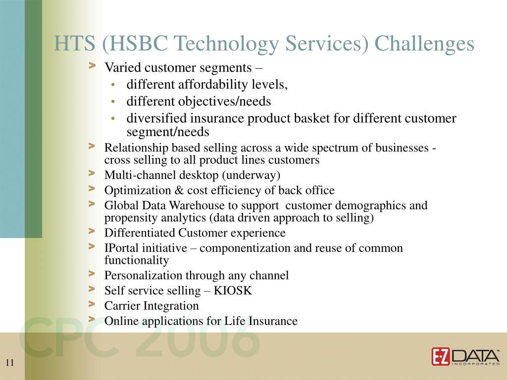 HTS (HSBC Technology Services) Challenges
