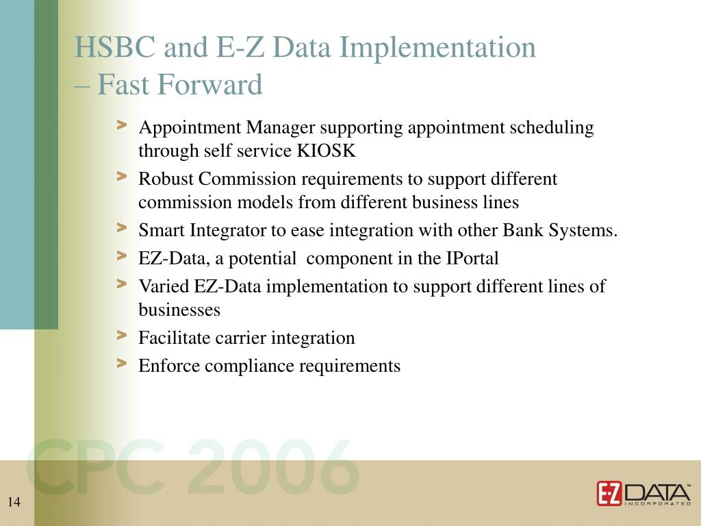 HSBC and E-Z Data Implementation