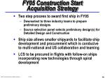fy05 construction start acquisition strategy
