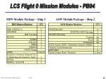 lcs flight 0 mission modules pb04