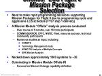 offsites lcs flight 0 mission package selection