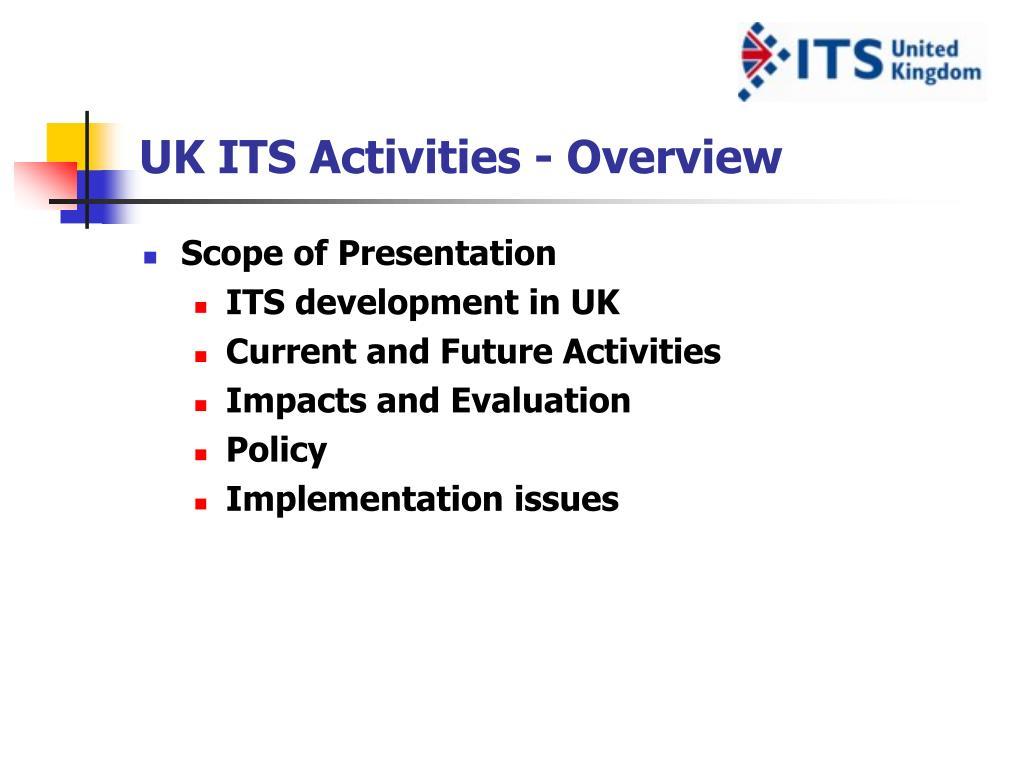 UK ITS Activities - Overview