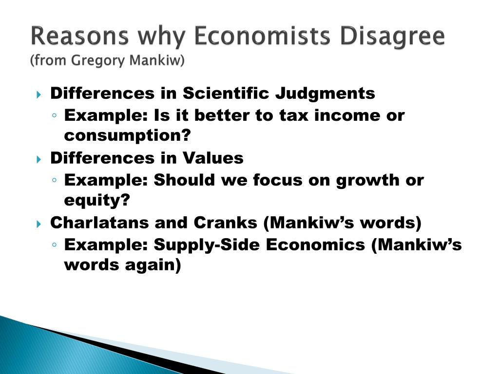 reasons why economists disagree from gregory mankiw l.