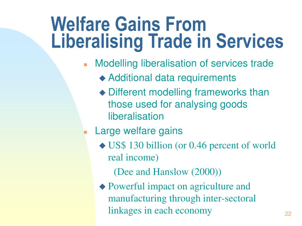 Welfare Gains From Liberalising Trade in Services