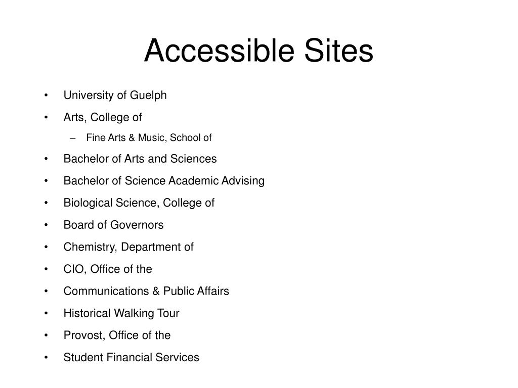 Accessible Sites
