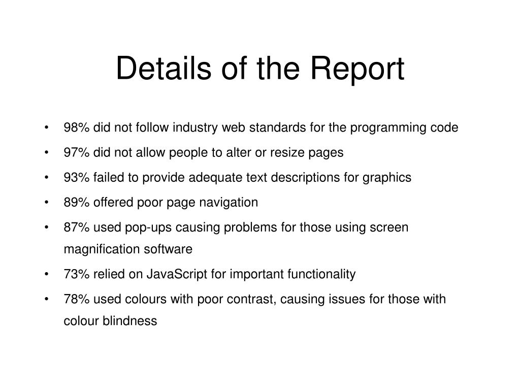 Details of the Report