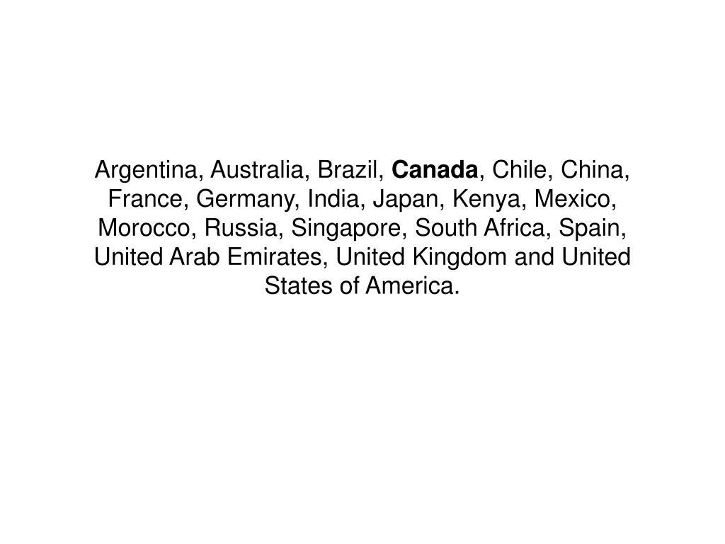 Argentina, Australia, Brazil,