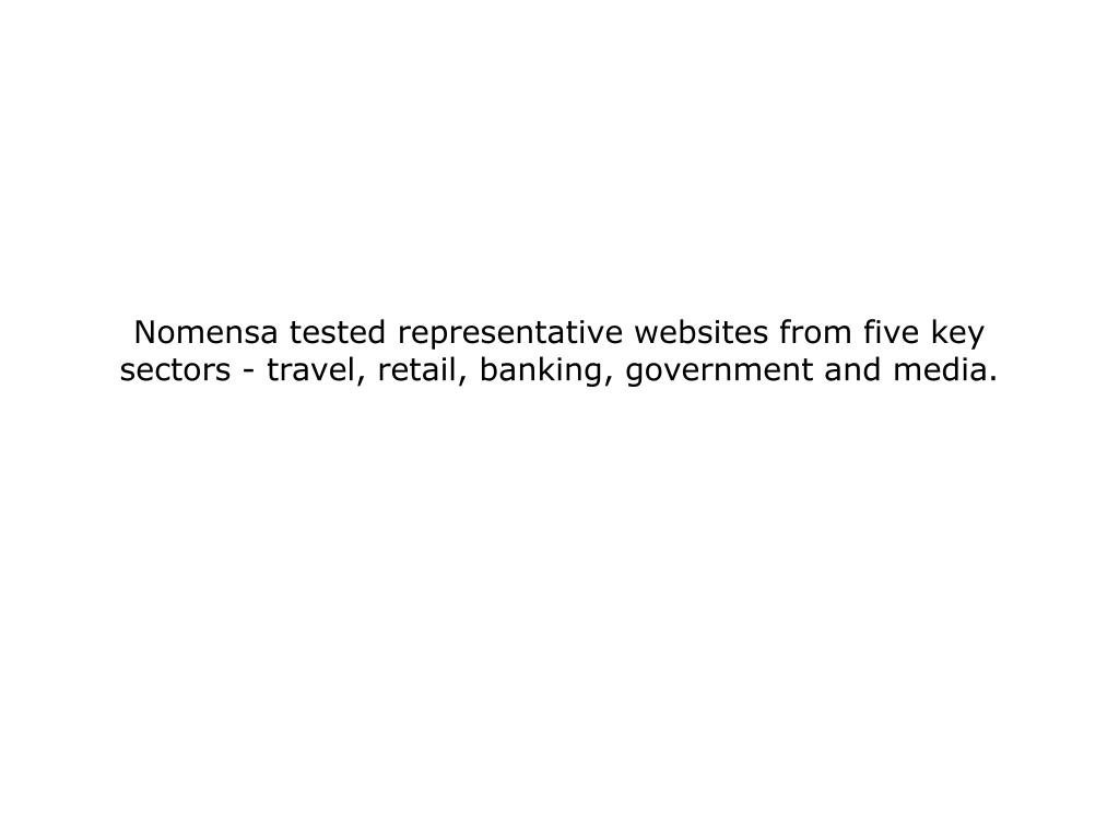 Nomensa tested representative websites from five key sectors - travel, retail, banking, government and media.