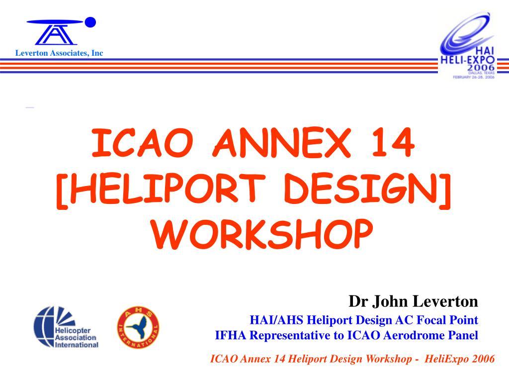 icao annex 14 heliport design workshop l.