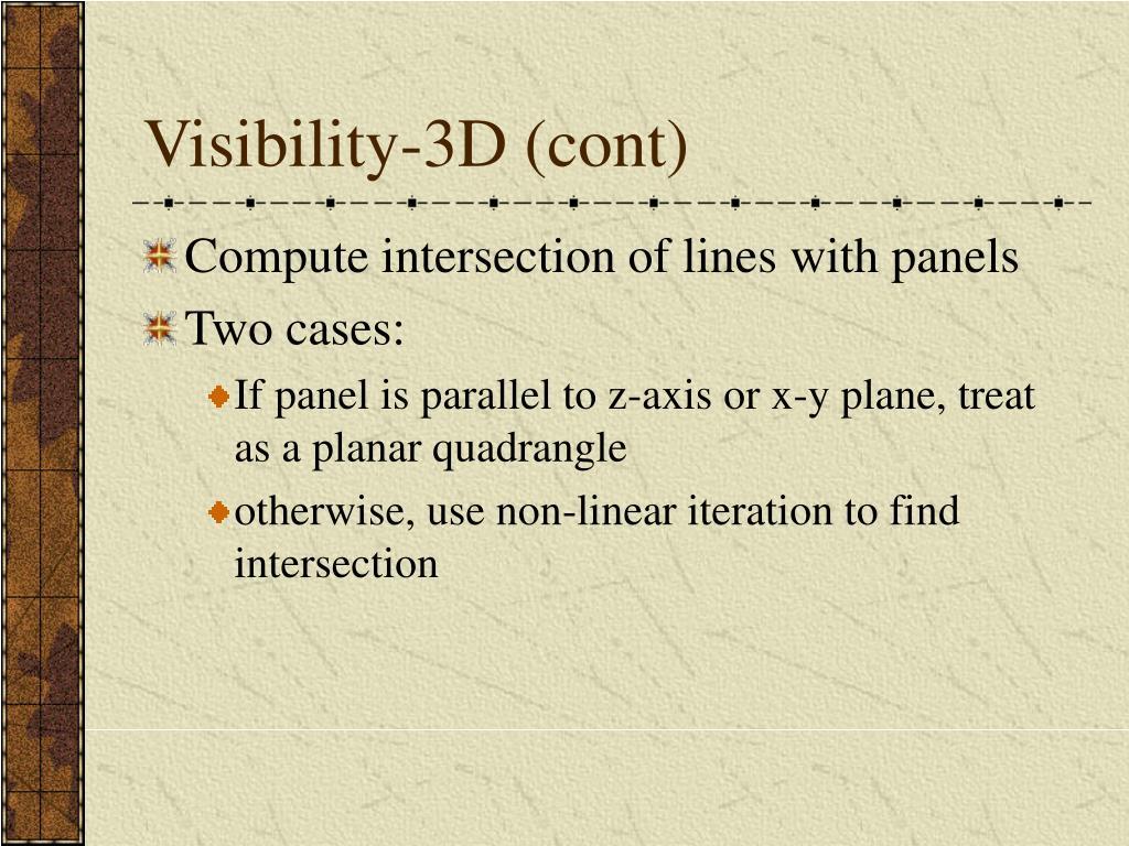 Visibility-3D (cont)