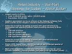 retail industry wal mart strategy for sudan about sudan