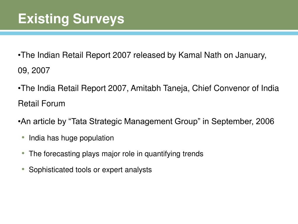 Existing Surveys