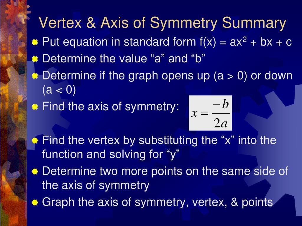 Vertex & Axis of Symmetry Summary