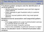 data mining for the telecommunications industry cont