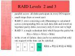 raid levels 2 and 3