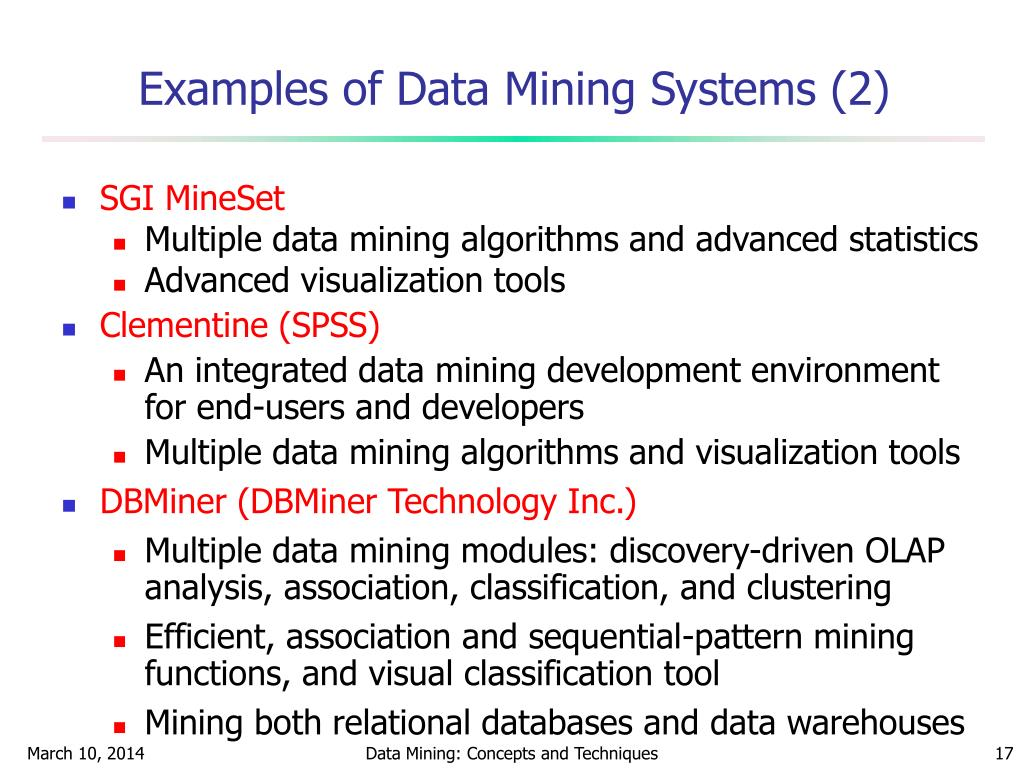 Examples of Data Mining Systems (2)