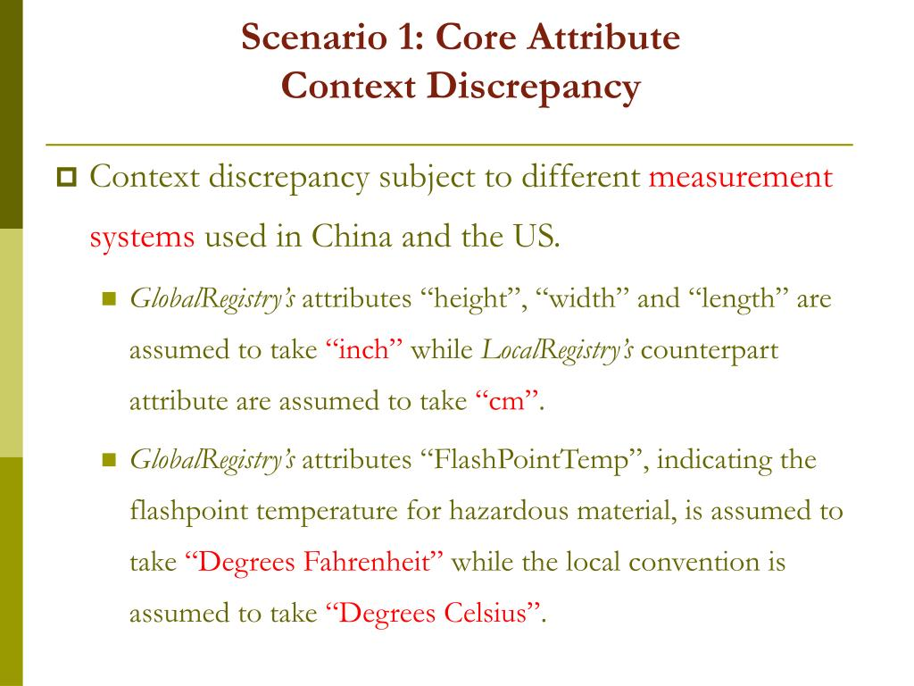 Scenario 1: Core Attribute