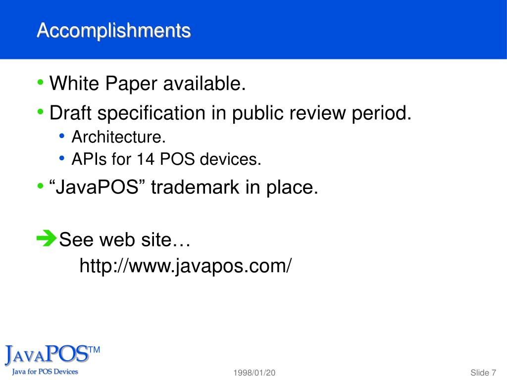 PPT - Overview and Status Curtiss Monroe, NCR JavaPOS Work