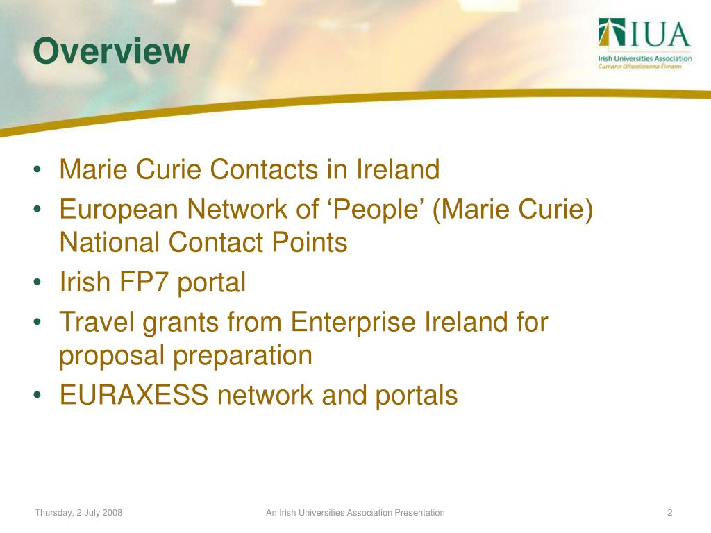 Marie Curie Contacts in Ireland
