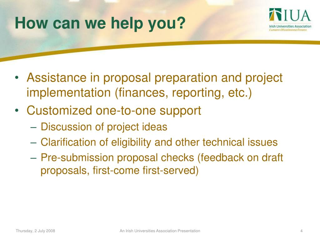 Assistance in proposal preparation and project implementation (finances, reporting, etc.)