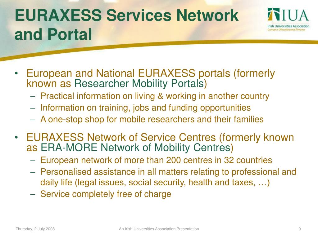 European and National EURAXESS portals (formerly known as