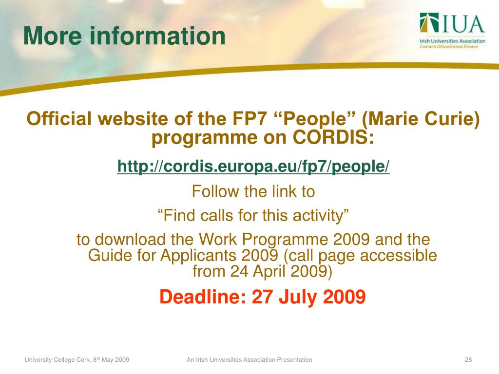 """Official website of the FP7 """"People"""" (Marie Curie) programme on CORDIS:"""