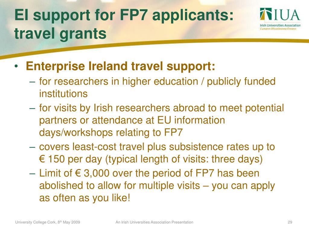 Enterprise Ireland travel support: