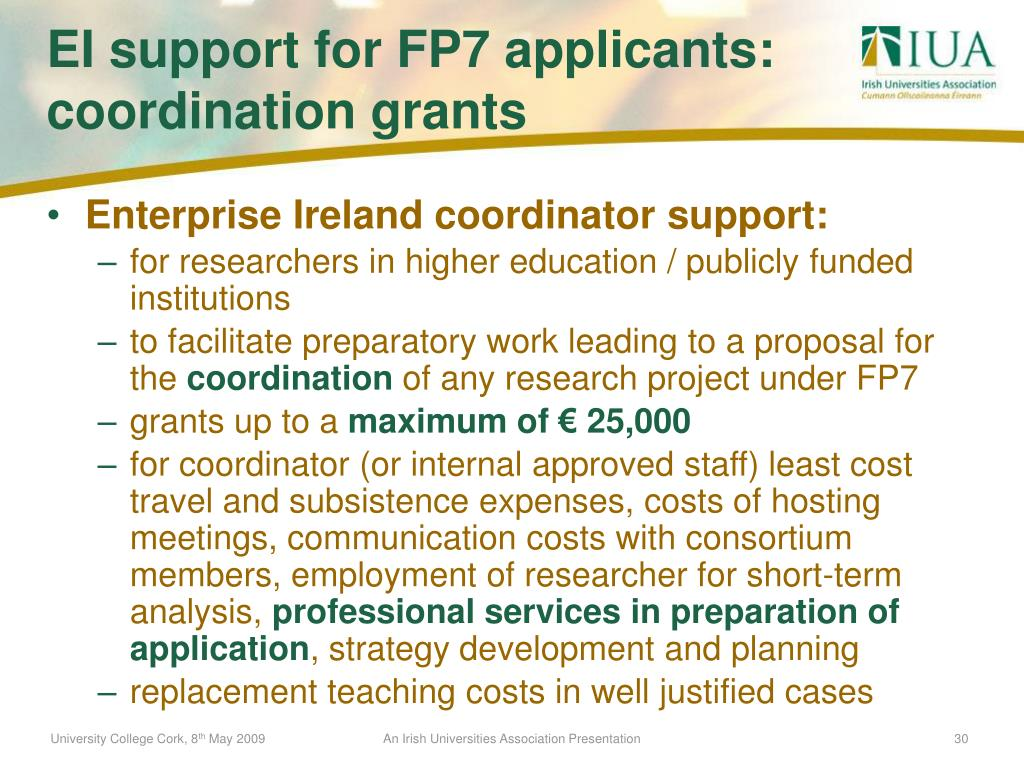 Enterprise Ireland coordinator support: