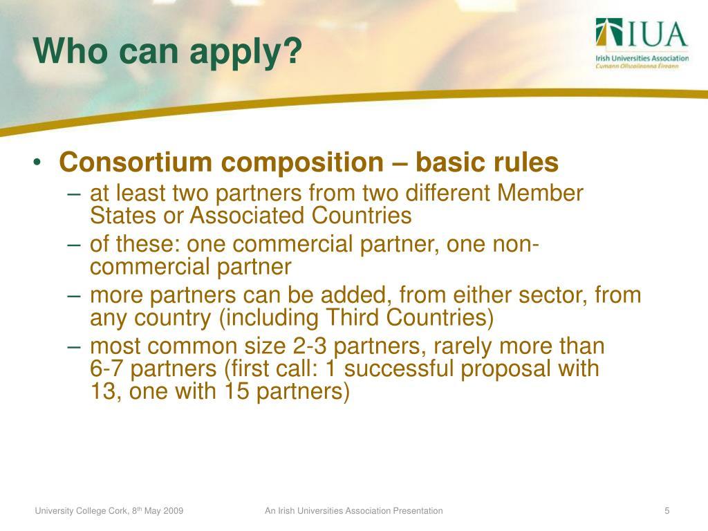 Consortium composition – basic rules