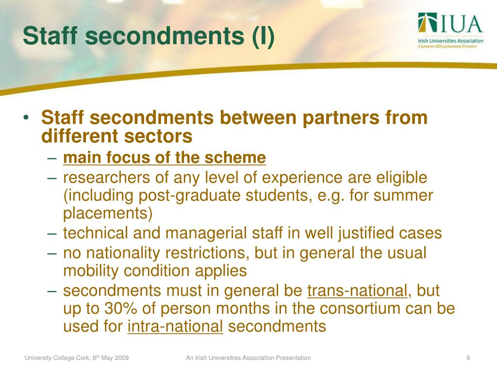 Staff secondments between partners from different sectors