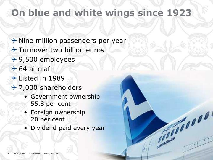 On blue and white wings since 1923