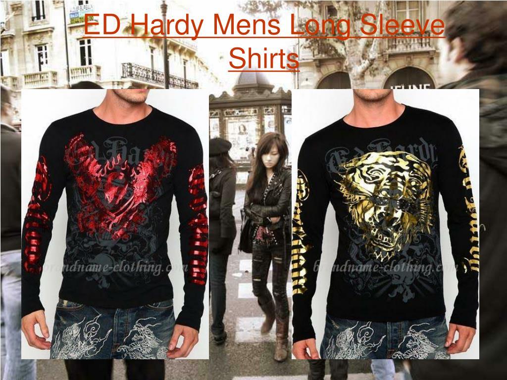 ed hardy mens long sleeve shirts l.
