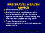 pre travel health advice