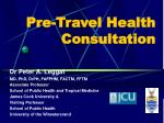 pre travel health consultation