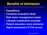 benefits of admission