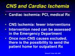 cns and cardiac ischemia