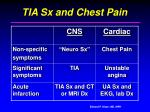 tia sx and chest pain