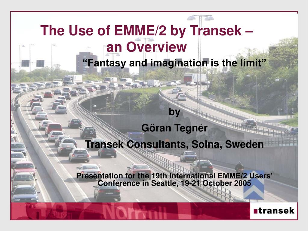 the use of emme 2 by transek an overview l.