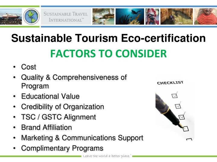 Sustainable tourism eco certification
