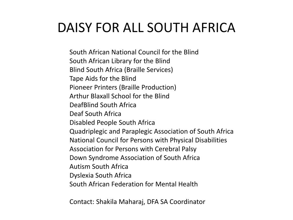 DAISY FOR ALL SOUTH AFRICA