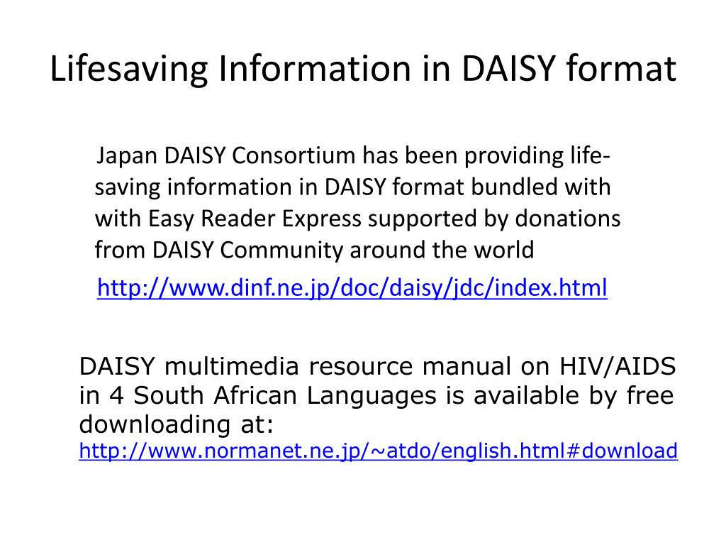 Lifesaving Information in DAISY format