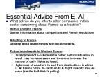 essential advice from el al
