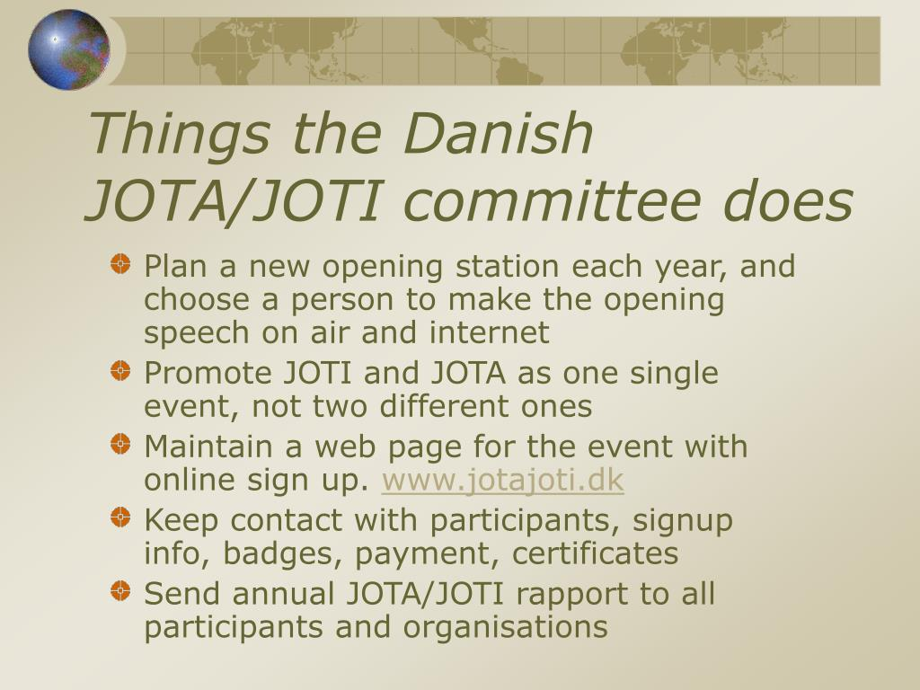 Things the Danish JOTA/JOTI committee does