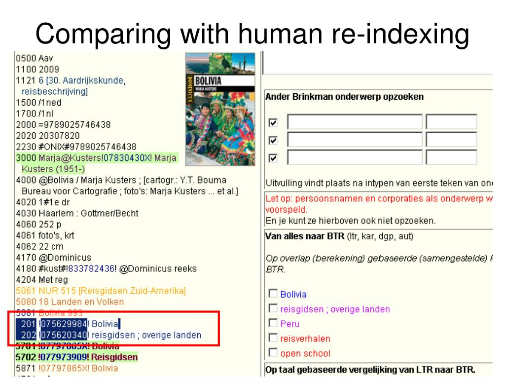 Comparing with human re-indexing