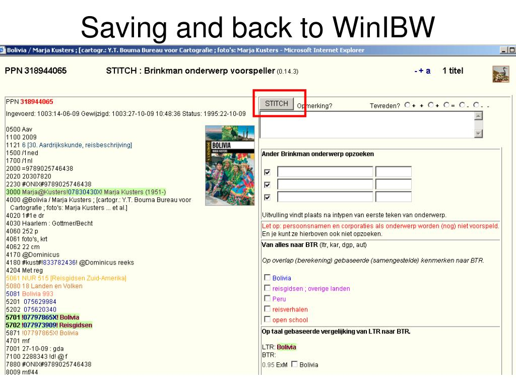Saving and back to WinIBW