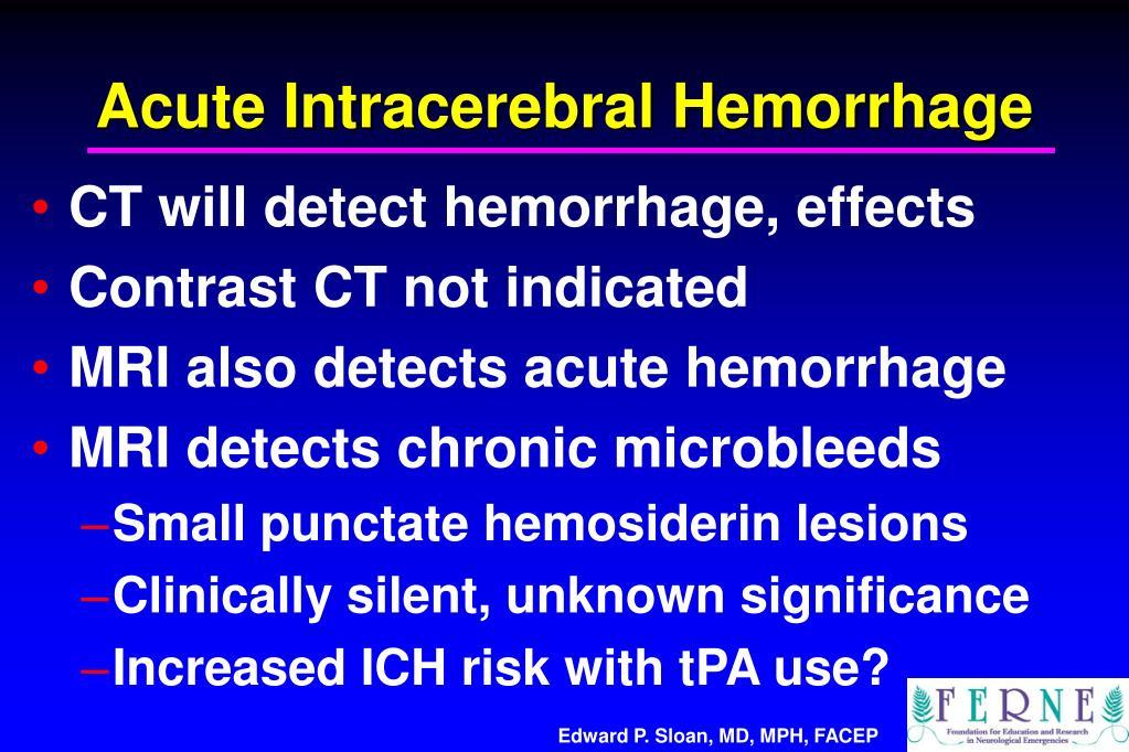 Acute Intracerebral Hemorrhage