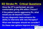 ed stroke pt critical questions