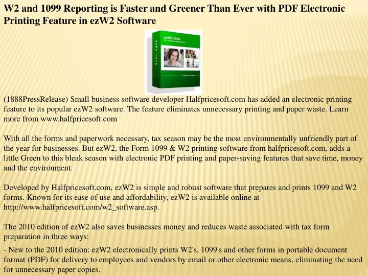 W2 and 1099 Reporting is Faster and Greener Than Ever with PDF Electronic Printing Feature in ezW2 S...
