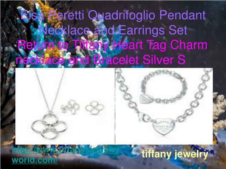 Elsa peretti quadrifoglio pendant necklace and earrings set